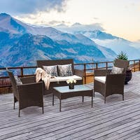 Costway 4 PC Patio Rattan Wicker Chair Sofa Table Set Outdoor Garden Furniture Cushioned - as pic