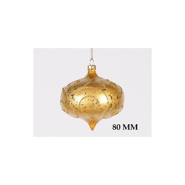 Christmas at Winterland WL-ONION-80-GO 3 Inch Onion Ornament Gold with Gold Glitter