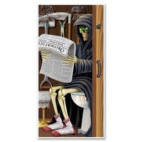 Club Pack of 12 Halloween Themed Grim Reaper Restroom Door Cover Party Decorations 5' - Multi
