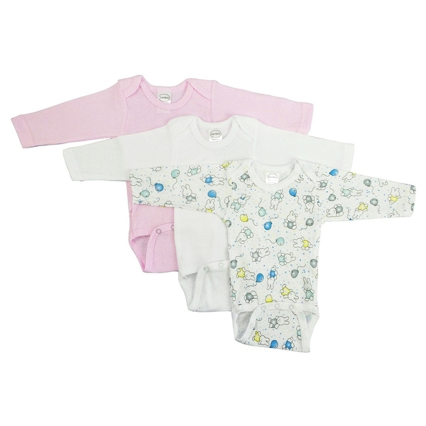 Bambini Girls' Long Sleeve Printed Bodysuit Variety Pack - Size - Medium - Girl