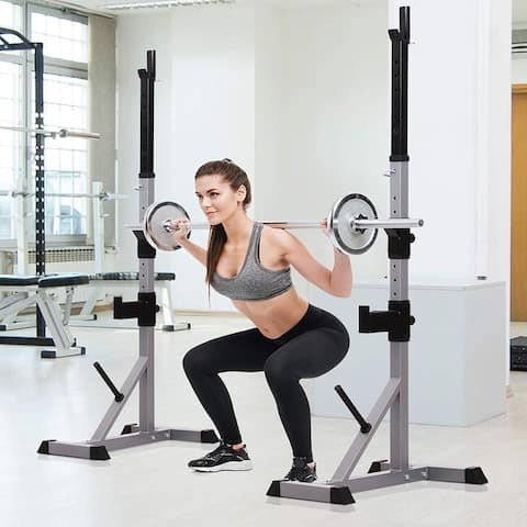 Soozier 2-Piece Steel Height Adjustable Barbell Squat Rack and Bench Press - N/A