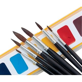 Crayola 1121 Round Natural Camel Hair Polished Wood Handle Watercolor Paint Brush, Size 1, Black