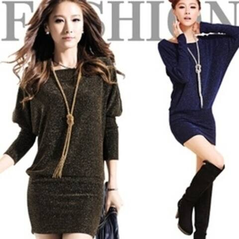 Spring And Autumn Fashion Slim Thin Package Hip Long-Sleeved Big Yards T-Shirt Bats Dresses