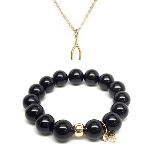 "Black Onyx 7"" Bracelet & Wishbone Gold Charm Necklace Set"