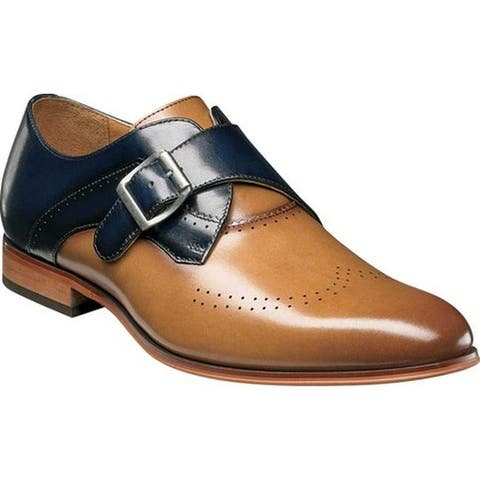 Stacy Adams Men's Saxton Wingtip Monk Strap 25178 Tan/Navy Smooth Leather