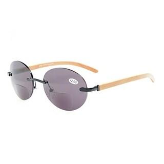 Eyekepper Spring Hinges Rimless Round Bifocal Sunglasses Black/Grey Lens +2.0
