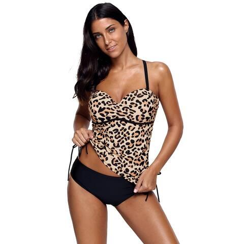 Cali Chic Women's Two Piece Swimsuit Celebrity Cute Leopard Print Sweetheart Tankini