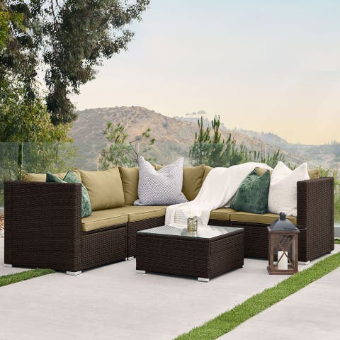 BELLEZE Vaira 6 Pcs Patio Rattan Sofa With Table & Cushions, Brown