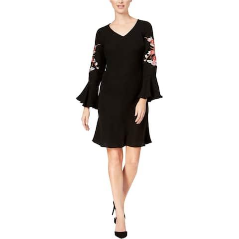 SLNY Womens Embroidered Bell Sleeve Sheath Dress, black, 14