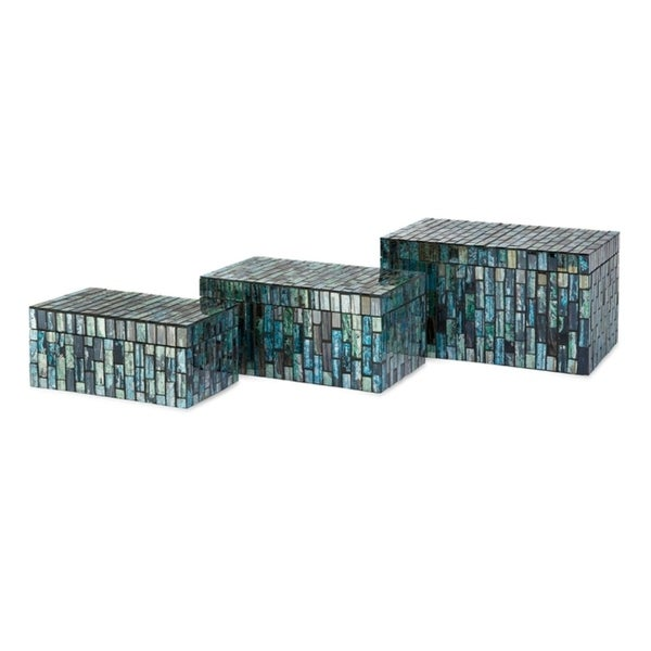 """Set of 3 Decorative Marine Colored Mosaic Tile Storage Boxes with Lids 9.25"""" - N/A"""