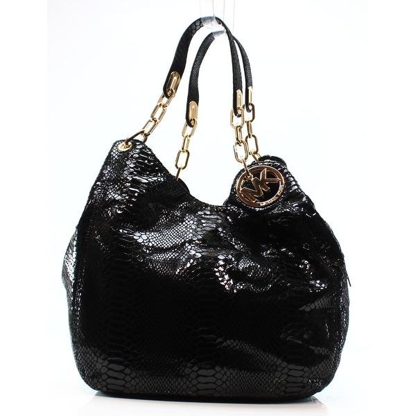 4ad4e6da1746bb Shop Michael Kors NEW Black Snakeskin Emboss Leather Fulton Shoulder ...