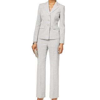 Le Suit NEW Gray Pebble Women Size 12 Three-Button Stripe Pant Suit Set