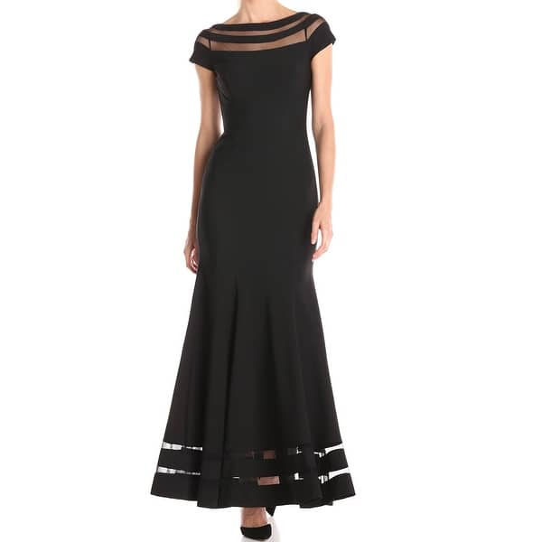 645c2729802 Shop JS Collections Black Womens Size 4 Mesh-Insert Boat-Neck Gown ...