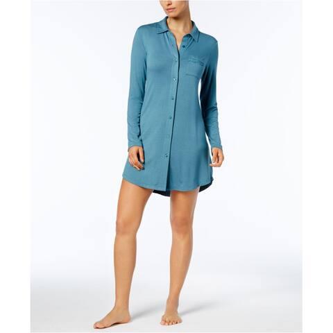 Alfani Women's Lace-Trim Sleepshirt Aqua Blue Size Extra Large - X-Large