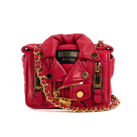 Moschino Red Leather Mini Moto Jacket Chain Shoulder Bag