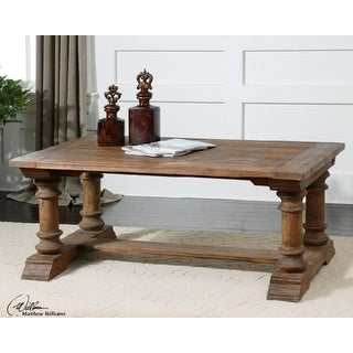 """48"""" Eco-Friendly Distressed Recycled Fir Rectangular Wooden Coffee Table"""