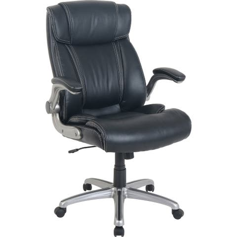 Lorell Soho Flip Armrest High-back Leather Chair - Black Bonded Leather Seat - Black Bonded Leather Back - 1 Each