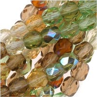 Czech Fire Polished Glass Beads 4mm Round 'Earthtone Green Amber Mix' (100)