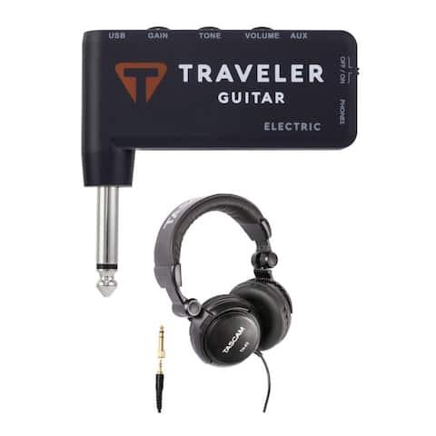 "Traveler Guitar TGA-1E Electric Headphone Amp with Headphones (Black) - 3.125"" x 3'' x 0.5"""