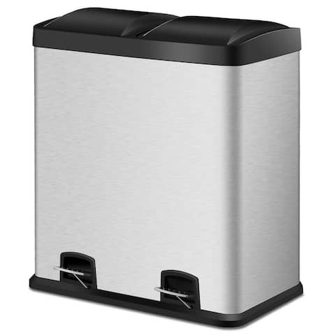 Costway 16 Gallon Dual Step Trash Can Stainless Steel Double Bucket