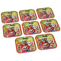 "Super Mario Bros. 7"" Square Paper Plates, 8 Count - Multi"