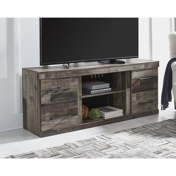 """Derekson Casual Large TV Stand w/Fireplace Option, Antique Brass Finish - 60"""" W x 15.75"""" D x 24.33"""" H. Opens flyout."""
