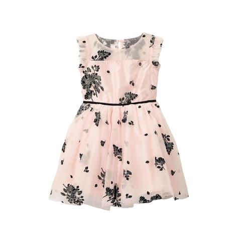 Zunie Girls Dresses Pink Size 10 Glitter Velvet Burnout Mesh Panel