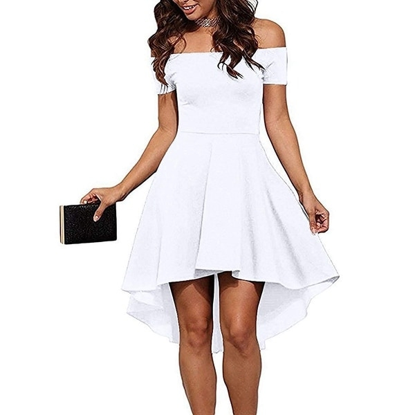 69a467ddf89a Shop Sarin Mathews White Women s Size Medium M Off-Shoulder Skater Dress -  Free Shipping On Orders Over  45 - Overstock - 27047060