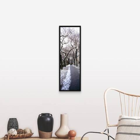"""Walkway in a park, Central Park, Manhattan, New York City, New York"" Black Float Frame Canvas Art"
