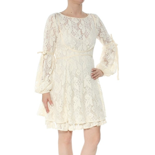 FREE PEOPLE Womens Ivory Lace Long Sleeve Jewel Neck Above The Knee Fit + Flare Party Dress Size: XS