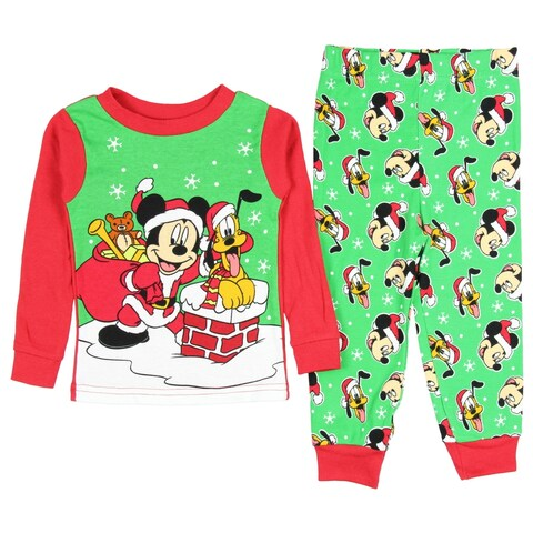 Disney Mickey Mouse Pluto Baby Boys' Christmas Pajama Set Tight Fit