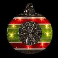 "15.5"" Lighted Shimmering Red, Green, White & Silver Ornament Christmas Window Silhouette Decoration - RED"