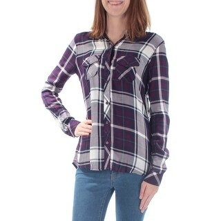 Womens Purple Plaid Cuffed Collared Casual Button Up Top Size 2XS