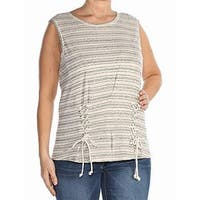 William Rast Gray Beige Women's Size XL Striped Lace Up Tank Top