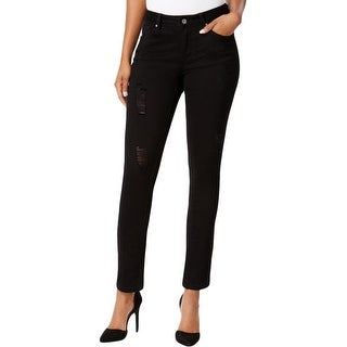 Earl Jean Womens Skinny Jeans Destroyed Mid-Rise