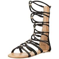 Call It Spring Womens Kederivia Gladiator Sandals Faux Leather Flat - 7.5 medium (b,m)