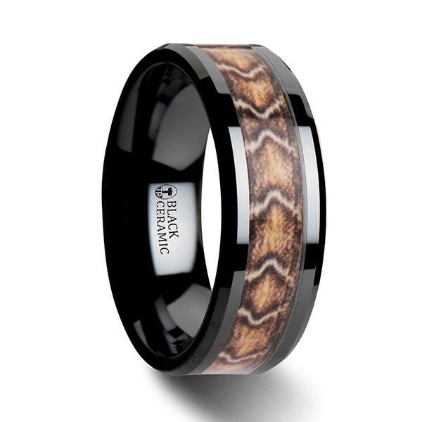 FANG Black Ceramic Wedding Ring with Boa Snake Skin Design Inlay - 8mm