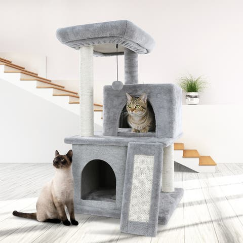Cat Tree Sisal Scratching Post Kitten Furniture Plush Condo Playhouse