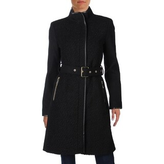 Vince Camuto Womens Coat Wool Faux Leather Trim - S