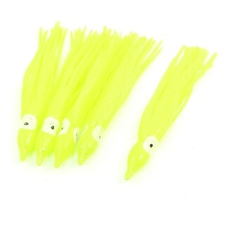 "Unique Bargains 5 Pcs 4.3"" Glitter Powder Decor Octopus Skirt Shaped Silicone Yellow Fishing Lure Fish Bait 0.8oz"