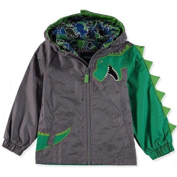 Girls Hooded Zip Waterproof Jacket Dinosaur Lightweight Jersey Lined School Coat