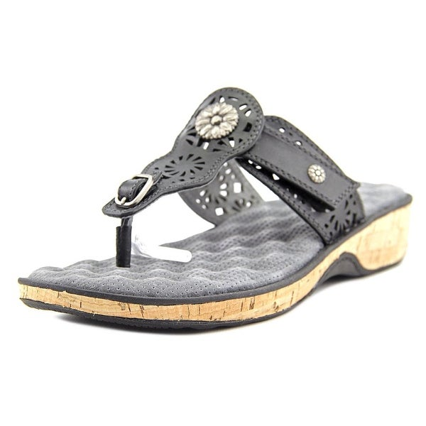 Softwalk Beaumont Laser Women W Open Toe Leather Black Thong Sandal