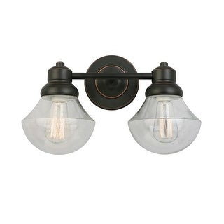 """Design House 577866 Sawyer 2 Light 16-3/8"""" Wide Bathroom Vanity Light with Clear - Oil Rubbed bronze"""