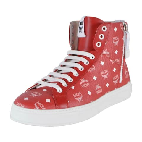 MCM Men's Red White Coated Canvas Visetos Logo High Top Sneakers Shoes 9