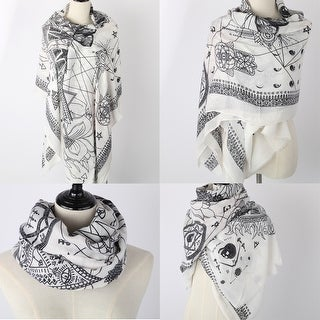 Women Tassel Cotton Scarf With Stylish Son of Suns' Geometry Print - Medium
