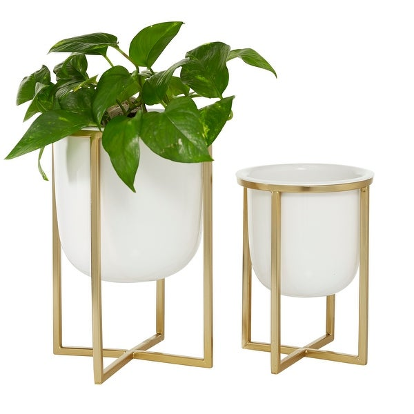 "Round White Planter With Gold Metal Base Set Of 2 10"" 13"" - 9 x 9 x 12Round. Opens flyout."