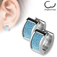 Pair of Square Blue Sand Sparkle Stainless Steel Hoop Earrings