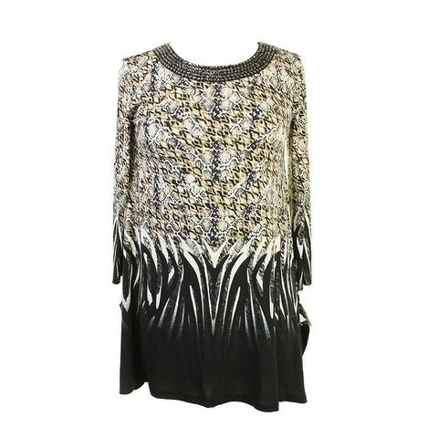 Alfani Multi Embellished Animal-Print Tunic XS