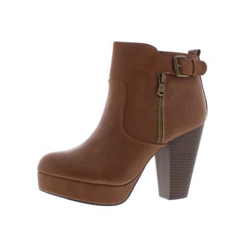 Material Girl Womens Raelyn Platform Boots Block Heels High