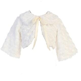 TGI Kids Girls White Satin Ribbon Collar Faux Fur Bolero Jacket